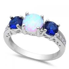opal engagement rings three stone moon of three round cut deep blue sapphire lab created