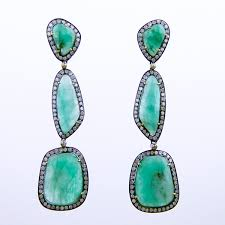 emerald drop earrings emerald and diamond drop earrings with silver and 18k gold