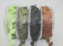self adhesive ribbon self adhesive leaf garland ribbon wholesale 20mm green tara 4 colours