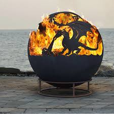 Sphere Fire Pit by Large Individually Hand Crafted Dragon Fire Pit Garden Bruner