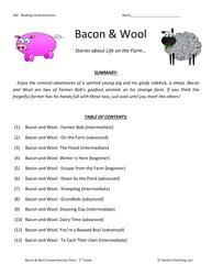 printable reading comprehension test third grade reading comprehension test collection bacon and wool
