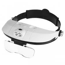 magnifier with led light two way regulation head wearing magnifier w 2 led light black