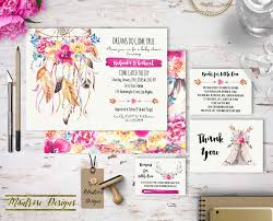 Gift Card Baby Shower Invitations Boho Chic Watercolor Dream Catcher U0026 Floral Baby Shower Bundle