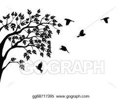 eps vector tree silhouette with bird flying stock clipart