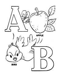 alphabet coloring pages printable apple and bird alphabet