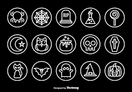 halloween logo black background halloween outline icons download free vector art stock graphics