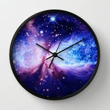 galaxy clock galaxy print clock galaxy clock blue lavender by 2sweetshomedecor
