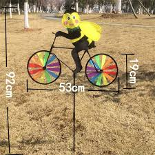 garden ornaments animal cycling shape windmill multicolor wind