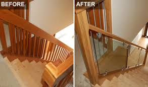 Glass Stair Banisters Staircase Renovations Scotland U2013 Glass Staircase Before After