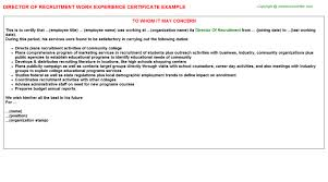 director of recruitment work experience certificate