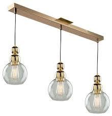etobicoke 3 light island light in gold transitional kitchen