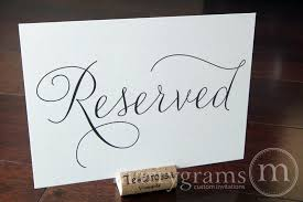 reserved signs for wedding tables reserved wedding table seating sign thin style