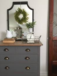charcoal gray dresser with a sweet little note milk paint