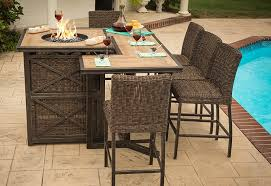 Firepit Table Agio Luxury High Top Pit Table Set 8 Bar Chairs Ml