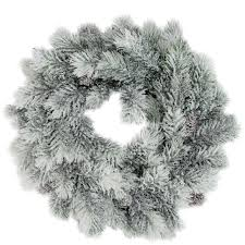 12 flocked green pine decorative wreath with pine cones