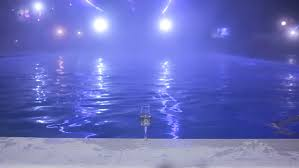 Pool At Night Man Going Out From Swimming Pool At Night Stock Footage Video