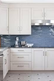 Kitchen Backsplash Photos White Cabinets by White And Blue Kitchen Features White Cabinets Adorned With Satin