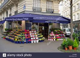 flower store flower shop 9th arrondissement stock photo