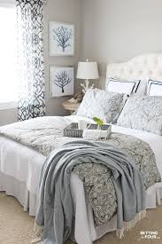 beautiful white bed cover guest bedroom ideas have white lamp