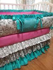 Pink And Teal Crib Bedding Handmade Nursery Bedding Sets Ebay