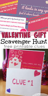 Valentine Gifts Ideas Valentines Scavenger Hunt Free Printable Clues For Gift Treasure
