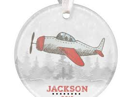 wooden airplane ornament personalized name date