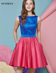 vestidos cortos blue and red cute satin homecoming dresses open