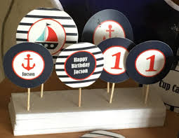 sailor party theme cupcake or cocktail toppers party stuff