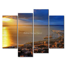 3 piece blue wall art painting seattle in sunset print on canvas