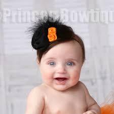 baby headband bloosoms black and orange newborn baby headband