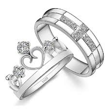 promise ring sets crown and cross cz diamond promise rings set pair for