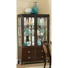 Corner Curio Cabinet Kit Rattan Wood Curio Cabinets Bellacor