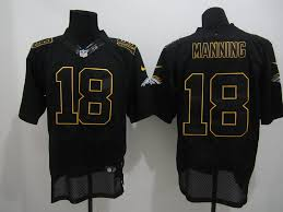nfl lights out black jersey broncos 18 peyton manning lights out black with yellow trim elite