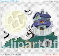 spooky cemetery clipart clipart of a full moon and haunted house with bats royalty free