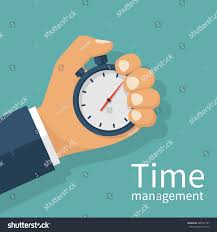 male hand holding stopwatch time management stock vector 488747167
