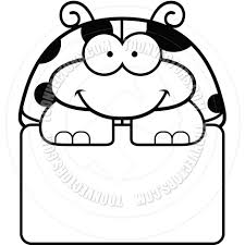cartoon little ladybug sign black and white line art by cory