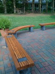 cedar outdoor benches 2 straight and 1 curved dyed cement by