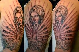 virgin mary roses praying hands religious sleeve by ryan el dugi