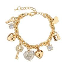 gold plated bracelet chain images Heart key lock gold plated bracelet austrian crystal chain jpg