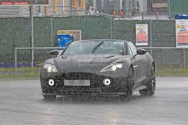 spyshots aston martin vanquish zagato speester gets rained in at