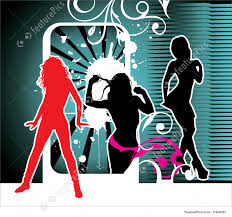 party silhouette illustration of party girls