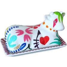porcelaine peinte main beurrier en porcelaine céramique en forme de vache peint main