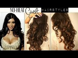 non hairstyles no heat kim kardashian curls waves heatless cute school