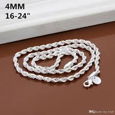 silver necklace diy images Best 4mm twisted singapore chain 16 24inch silver plated necklace jpg