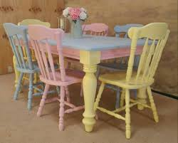 Pastel Dining Chairs Solid Pine Shabby Chic Pretty Mismatched Pastel Dining Table And