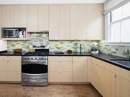 l shape kitchen design using light blue subway tile modern kitchen