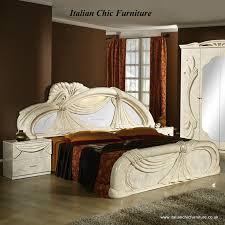gina bedroom set with 4 door wardrobe u0026 mirrored headboard beige
