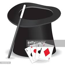 magic show entertainment set with hat wand and cards vector