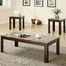 livingroom table sets coffee table and end table set 3 faux marble top living room