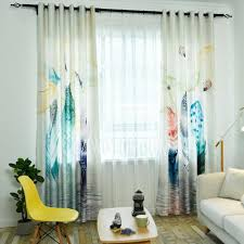 Colorful Patterned Curtains Modern Fresh Colorful Feather Pattern Window Curtains For Bedroom
